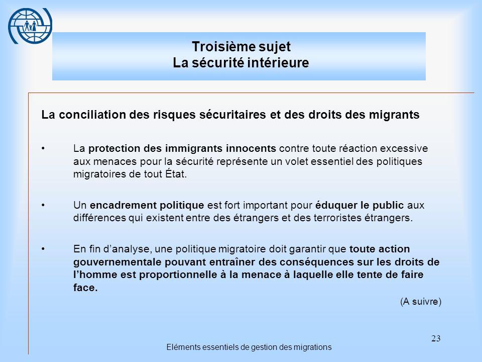 23 Eléments essentiels de gestion des migrations Troisième sujet La sécurité intérieure La conciliation des risques sécuritaires et des droits des mig