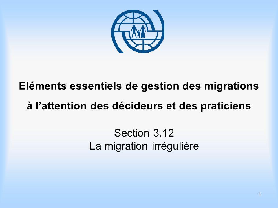 1 Eléments essentiels de gestion des migrations à lattention des décideurs et des praticiens Section 3.12 La migration irrégulière