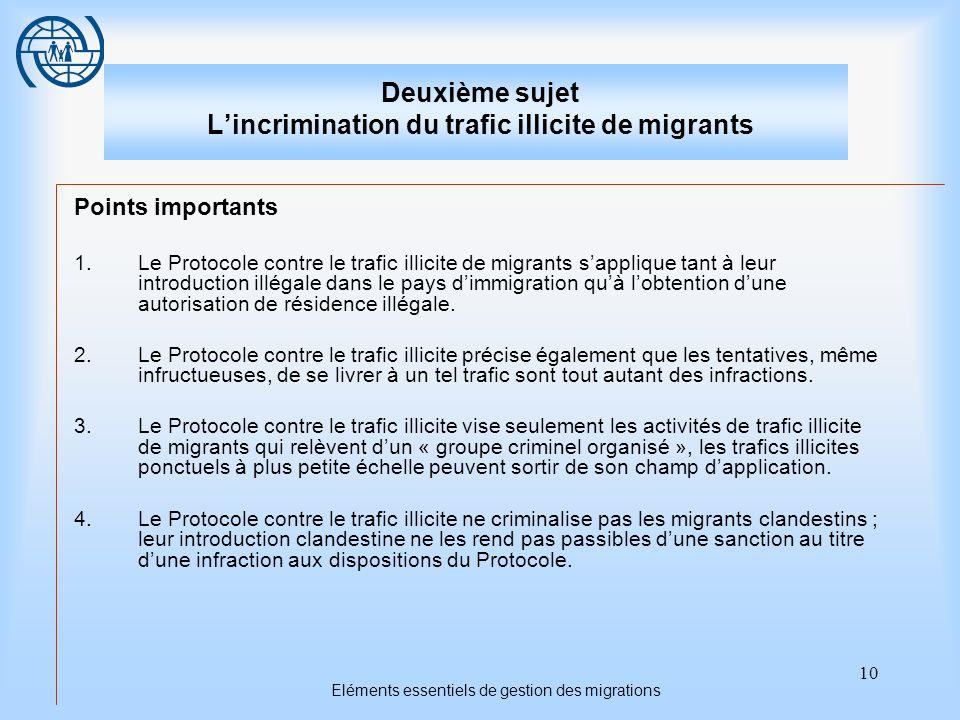10 Eléments essentiels de gestion des migrations Deuxième sujet Lincrimination du trafic illicite de migrants Points importants 1.Le Protocole contre