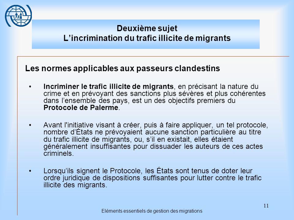 11 Eléments essentiels de gestion des migrations Deuxième sujet Lincrimination du trafic illicite de migrants Les normes applicables aux passeurs clan