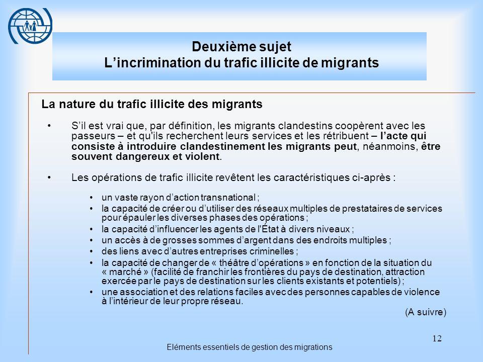 12 Eléments essentiels de gestion des migrations Deuxième sujet Lincrimination du trafic illicite de migrants La nature du trafic illicite des migrant
