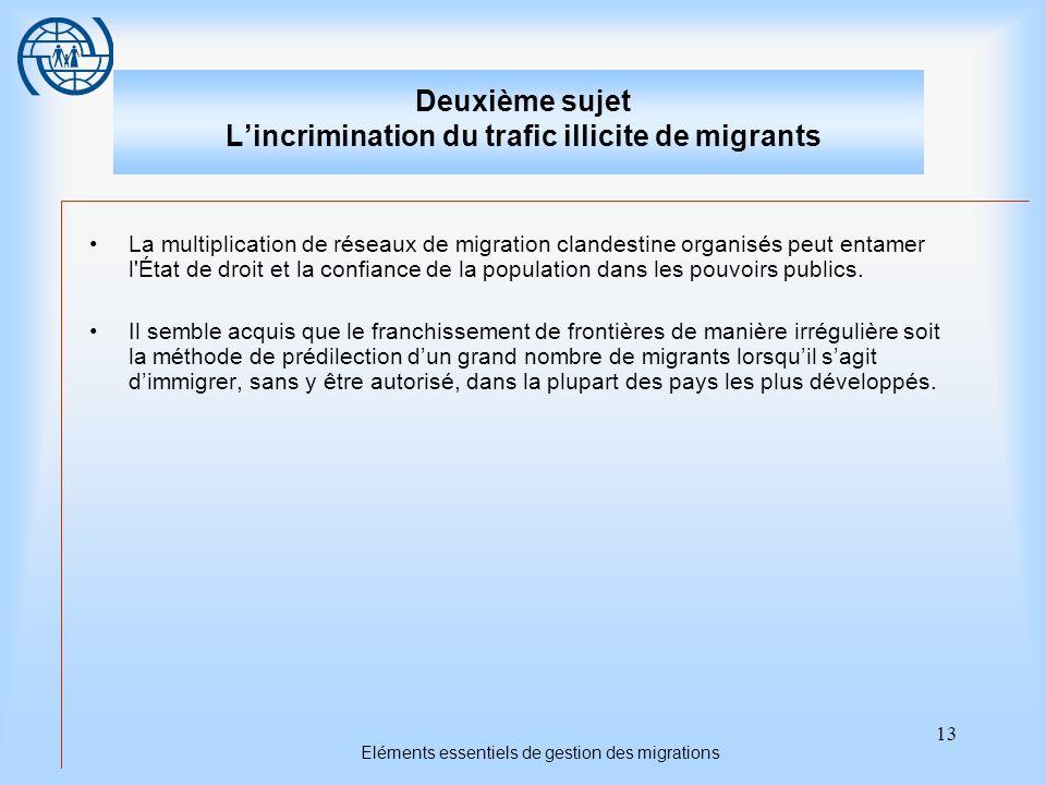 13 Eléments essentiels de gestion des migrations Deuxième sujet Lincrimination du trafic illicite de migrants La multiplication de réseaux de migration clandestine organisés peut entamer l État de droit et la confiance de la population dans les pouvoirs publics.