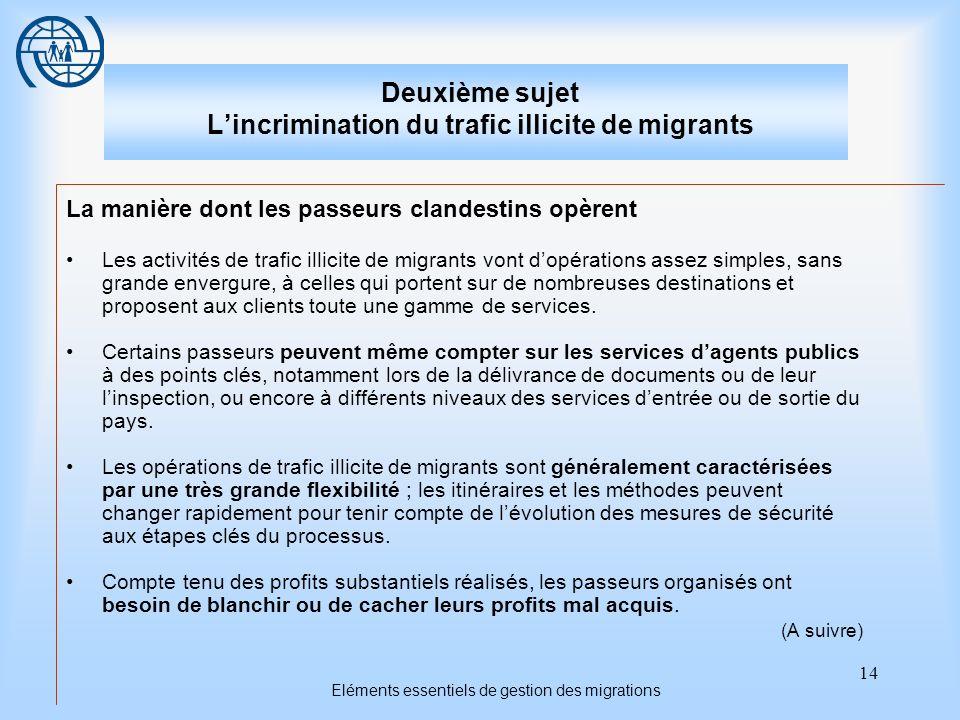 14 Eléments essentiels de gestion des migrations Deuxième sujet Lincrimination du trafic illicite de migrants La manière dont les passeurs clandestins