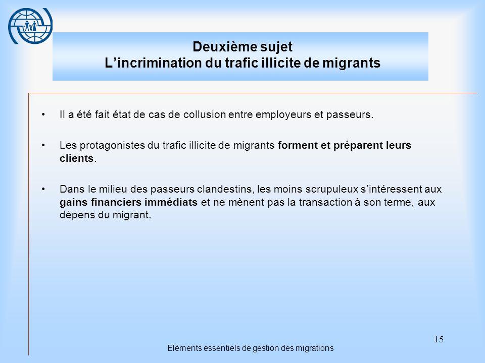15 Eléments essentiels de gestion des migrations Deuxième sujet Lincrimination du trafic illicite de migrants Il a été fait état de cas de collusion entre employeurs et passeurs.