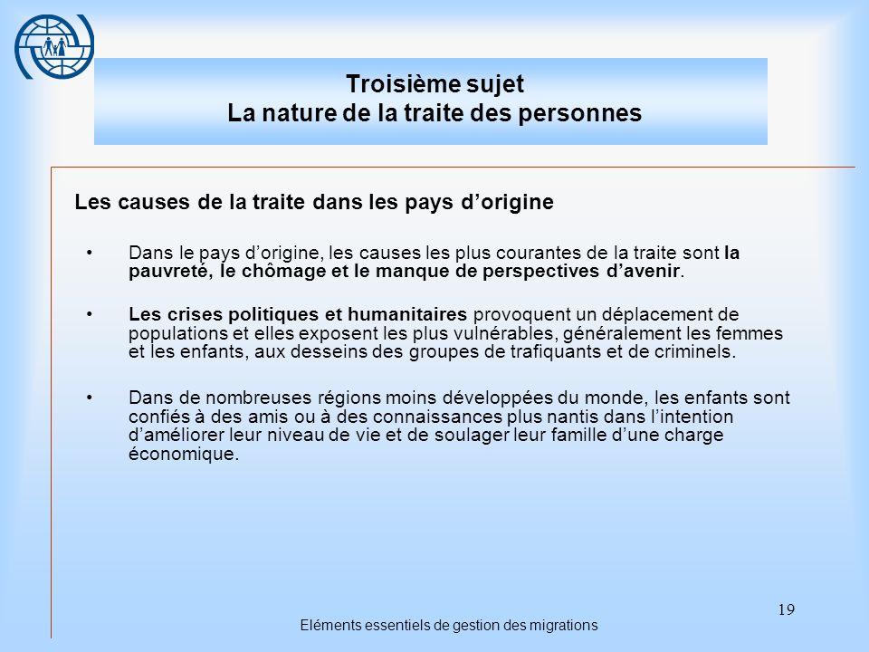 19 Eléments essentiels de gestion des migrations Troisième sujet La nature de la traite des personnes Les causes de la traite dans les pays dorigine D