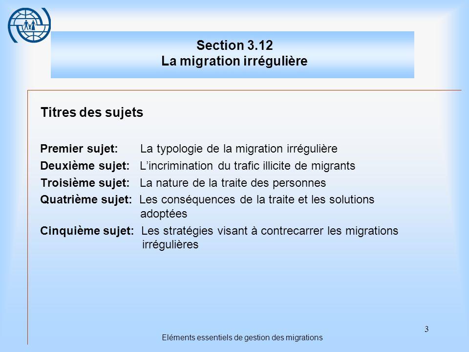 3 Eléments essentiels de gestion des migrations Section 3.12 La migration irrégulière Titres des sujets Premier sujet: La typologie de la migration ir