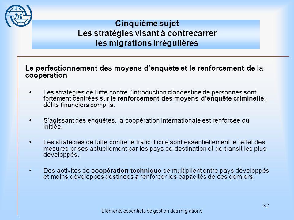 32 Eléments essentiels de gestion des migrations Cinquième sujet Les stratégies visant à contrecarrer les migrations irrégulières Le perfectionnement