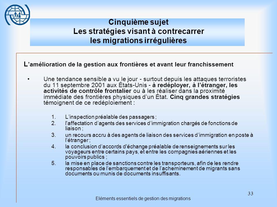 33 Eléments essentiels de gestion des migrations Cinquième sujet Les stratégies visant à contrecarrer les migrations irrégulières L amélioration de la