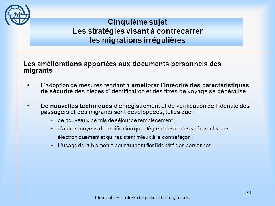 34 Eléments essentiels de gestion des migrations Cinquième sujet Les stratégies visant à contrecarrer les migrations irrégulières Les améliorations ap