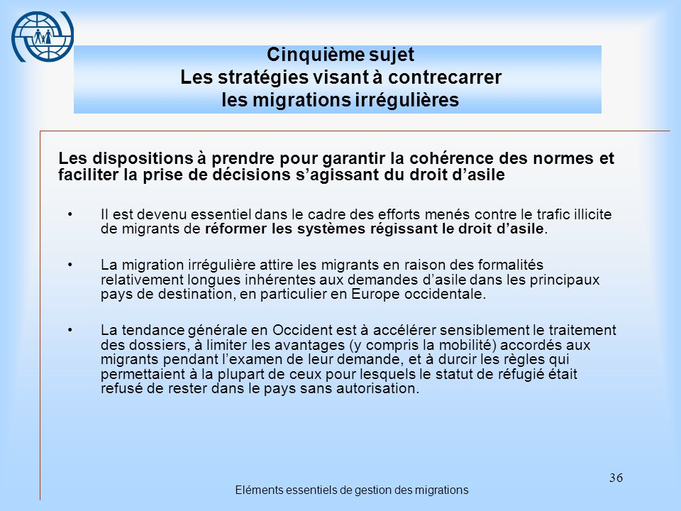 36 Eléments essentiels de gestion des migrations Cinquième sujet Les stratégies visant à contrecarrer les migrations irrégulières Les dispositions à p