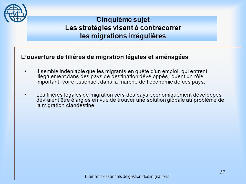 37 Eléments essentiels de gestion des migrations Cinquième sujet Les stratégies visant à contrecarrer les migrations irrégulières Louverture de filièr
