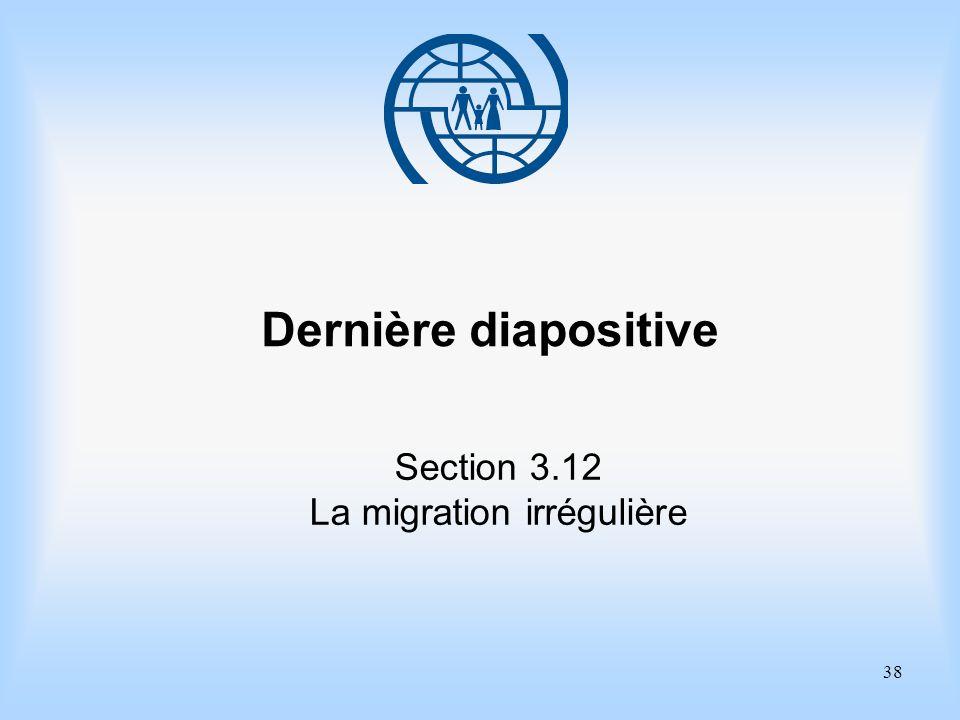 38 Dernière diapositive Section 3.12 La migration irrégulière