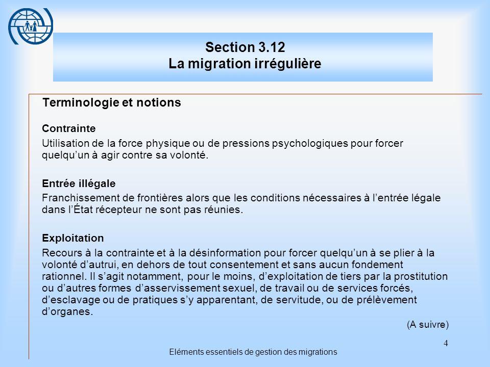 4 Eléments essentiels de gestion des migrations Section 3.12 La migration irrégulière Terminologie et notions Contrainte Utilisation de la force physique ou de pressions psychologiques pour forcer quelquun à agir contre sa volonté.