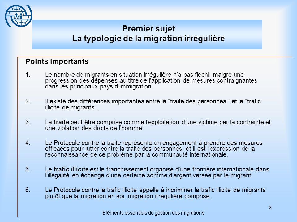 8 Eléments essentiels de gestion des migrations Premier sujet La typologie de la migration irrégulière Points importants 1.Le nombre de migrants en si
