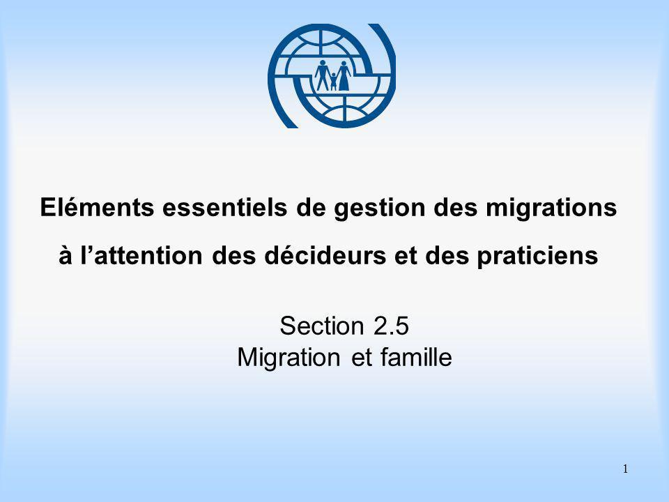 2 Eléments essentiels de gestion des migrations Section 2.5 Migration et famille Objectifs dapprentissage Apprendre à connaître les éléments des politiques de regroupement familial.