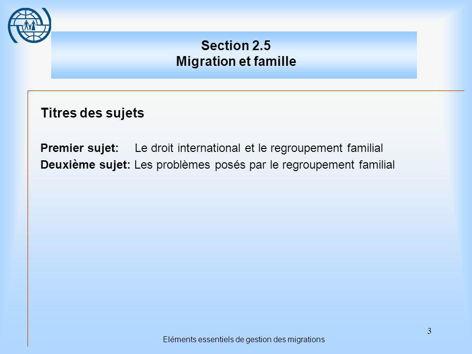 3 Eléments essentiels de gestion des migrations Section 2.5 Migration et famille Titres des sujets Premier sujet:Le droit international et le regroupement familial Deuxième sujet: Les problèmes posés par le regroupement familial