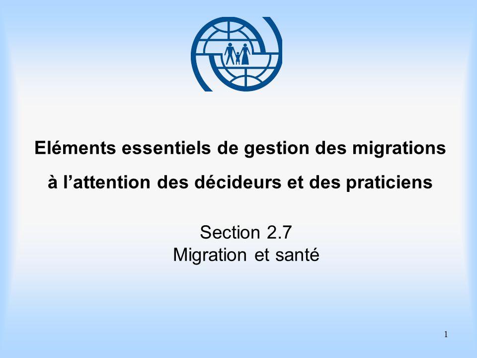 2 Eléments essentiels de gestion des migrations Section 2.7 Migration et santé Objectifs dapprentissage Etre capable dappliquer la définition large de la santé proposée par lOrganisation mondiale de la Santé (OMS) pour la santé des migrants.