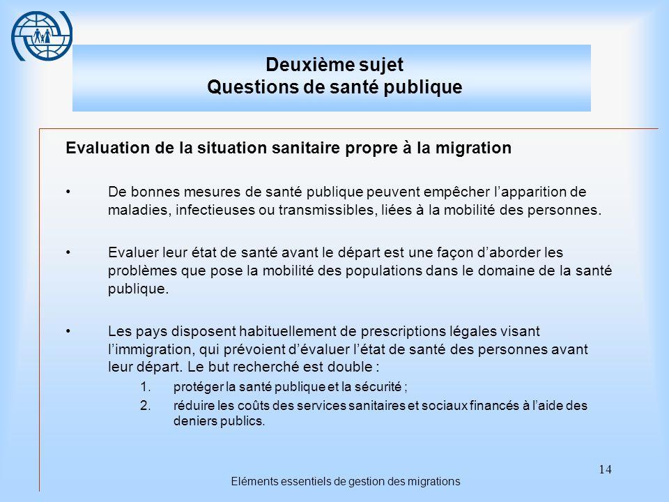 14 Eléments essentiels de gestion des migrations Deuxième sujet Questions de santé publique Evaluation de la situation sanitaire propre à la migration