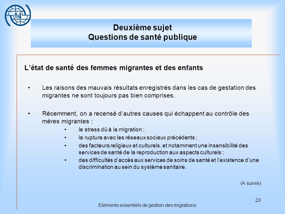 20 Eléments essentiels de gestion des migrations Deuxième sujet Questions de santé publique Létat de santé des femmes migrantes et des enfants Les rai