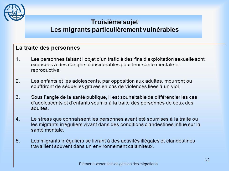 32 Eléments essentiels de gestion des migrations Troisième sujet Les migrants particulièrement vulnérables La traite des personnes 1.Les personnes fai