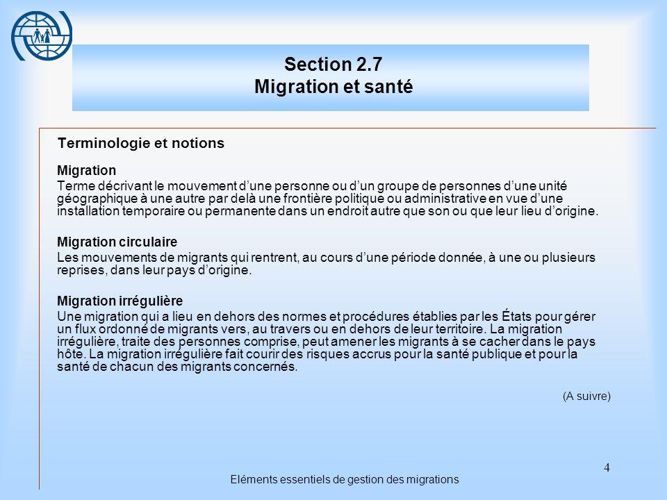 4 Eléments essentiels de gestion des migrations Section 2.7 Migration et santé Terminologie et notions Migration Terme décrivant le mouvement dune per