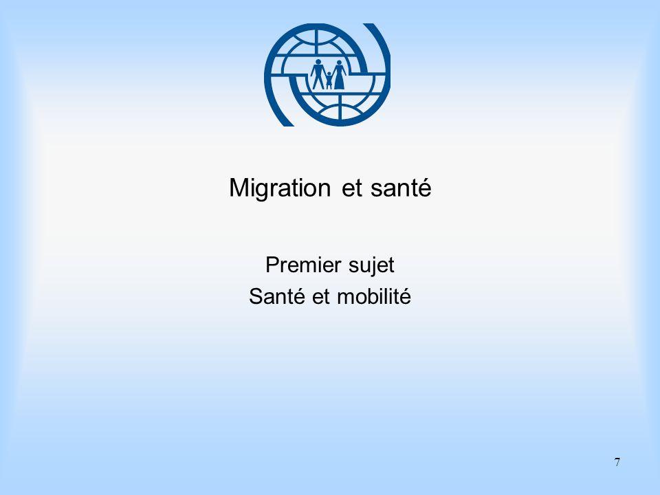8 Eléments essentiels de gestion des migrations Premier sujet Santé et mobilité Points importants 1.Un système de santé publique de qualité englobe tous les membres des communautés.