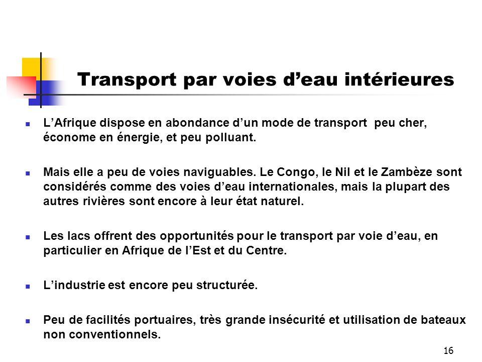 16 Transport par voies deau intérieures LAfrique dispose en abondance dun mode de transport peu cher, économe en énergie, et peu polluant. Mais elle a