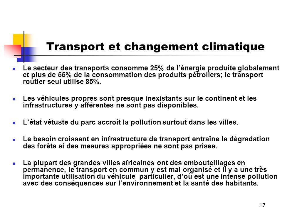 17 Transport et changement climatique Le secteur des transports consomme 25% de lénergie produite globalement et plus de 55% de la consommation des pr