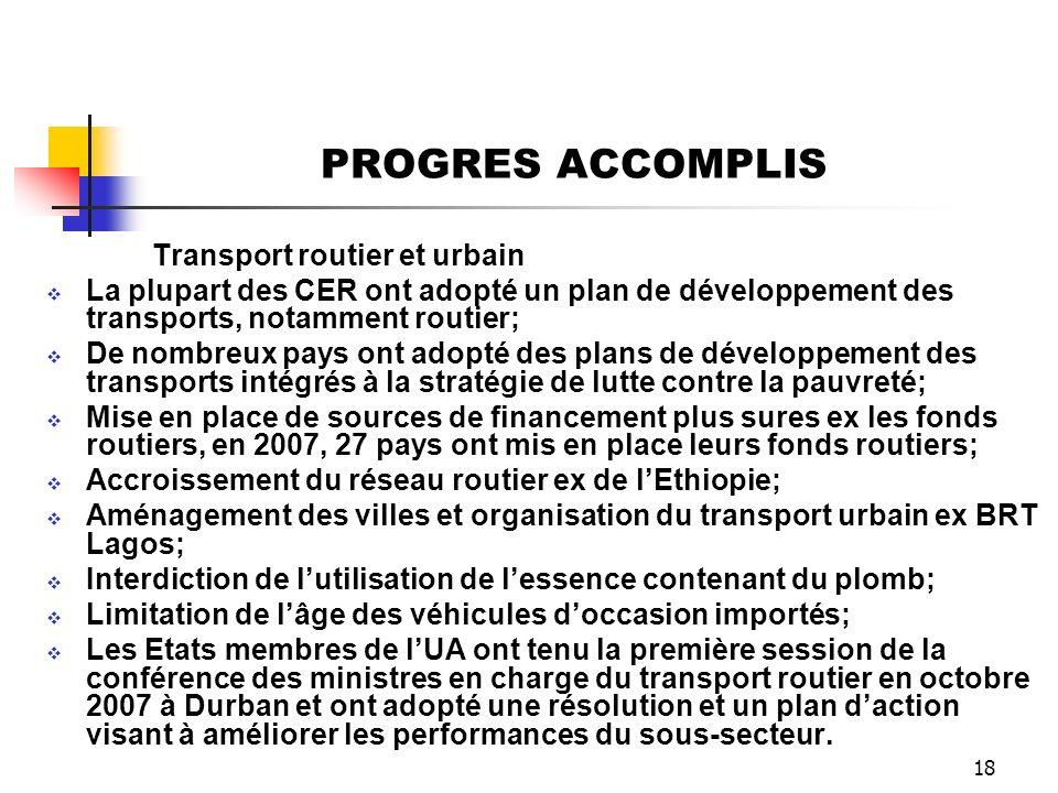 18 PROGRES ACCOMPLIS Transport routier et urbain La plupart des CER ont adopté un plan de développement des transports, notamment routier; De nombreux