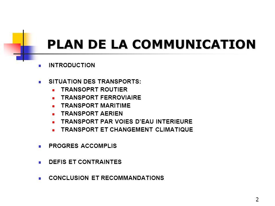 2 PLAN DE LA COMMUNICATION INTRODUCTION SITUATION DES TRANSPORTS: TRANSOPRT ROUTIER TRANSPORT FERROVIAIRE TRANSPORT MARITIME TRANSPORT AERIEN TRANSPOR
