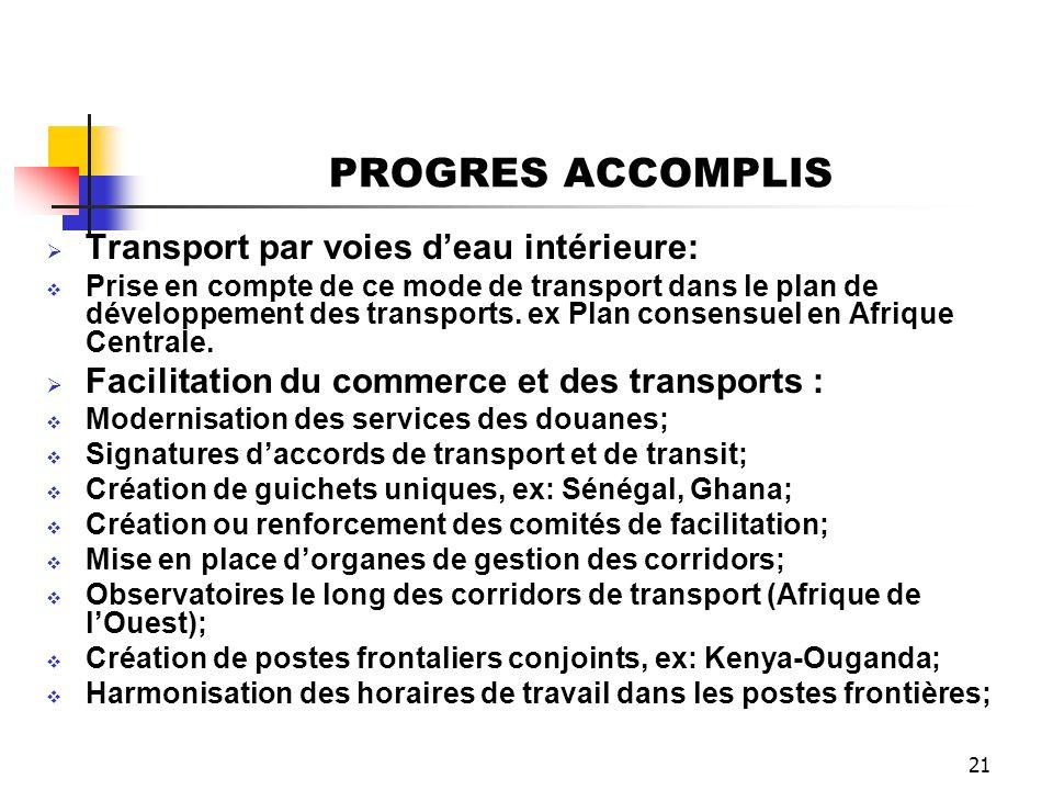 21 PROGRES ACCOMPLIS Transport par voies deau intérieure: Prise en compte de ce mode de transport dans le plan de développement des transports. ex Pla