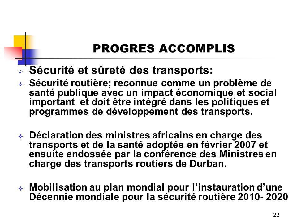 22 PROGRES ACCOMPLIS Sécurité et sûreté des transports: Sécurité routière; reconnue comme un problème de santé publique avec un impact économique et s