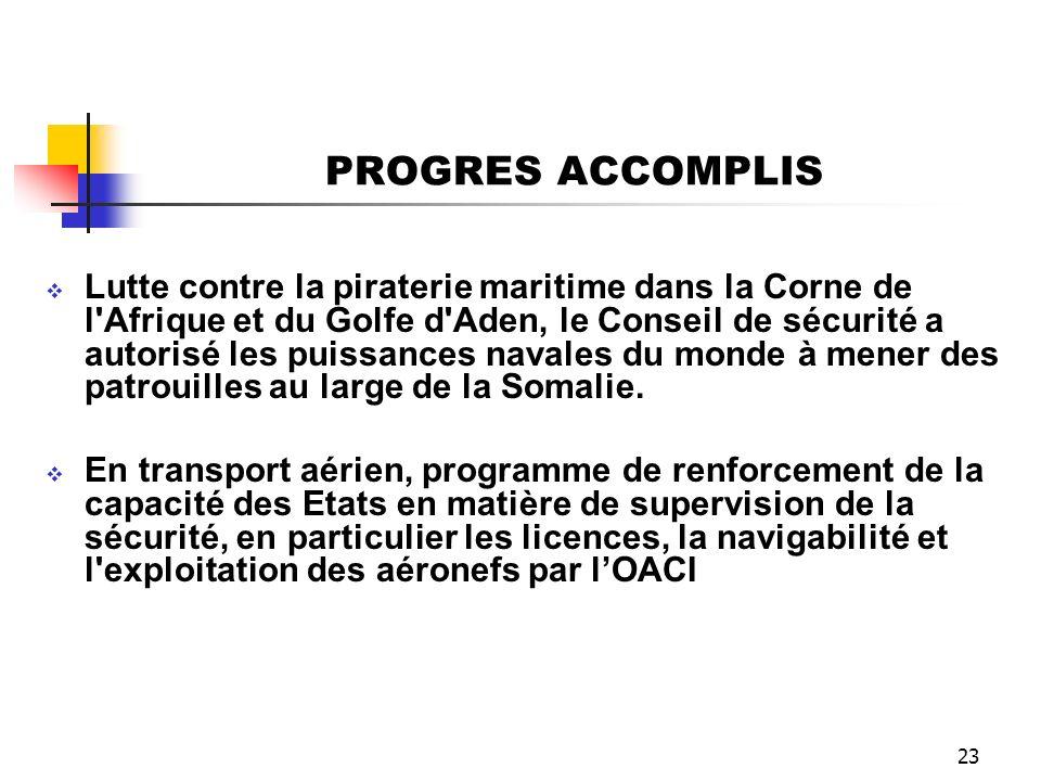 23 PROGRES ACCOMPLIS Lutte contre la piraterie maritime dans la Corne de l'Afrique et du Golfe d'Aden, le Conseil de sécurité a autorisé les puissance