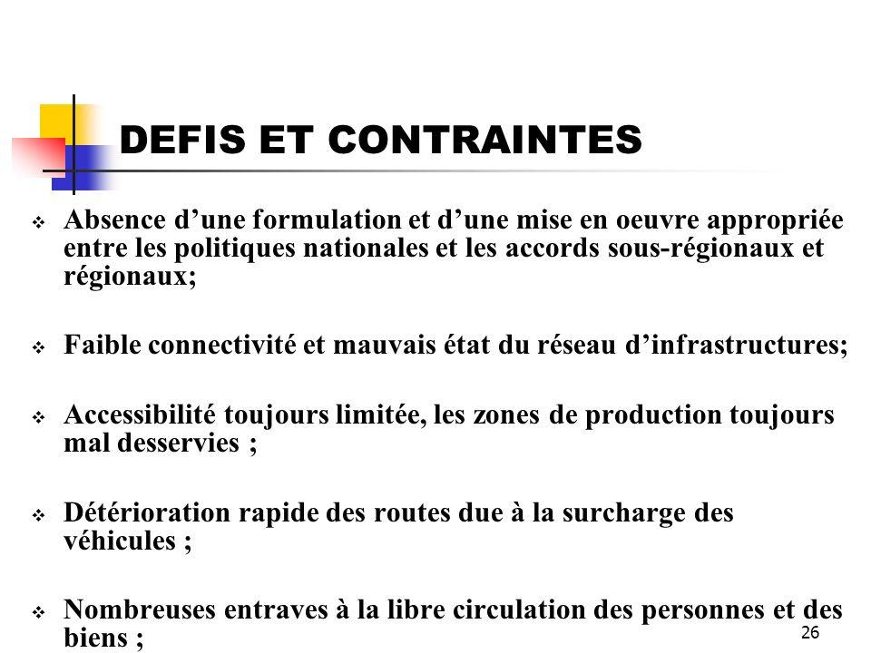 26 DEFIS ET CONTRAINTES Absence dune formulation et dune mise en oeuvre appropriée entre les politiques nationales et les accords sous-régionaux et ré