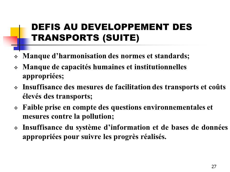 27 DEFIS AU DEVELOPPEMENT DES TRANSPORTS (SUITE) Manque dharmonisation des normes et standards; Manque de capacités humaines et institutionnelles appr