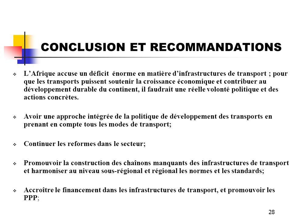 28 CONCLUSION ET RECOMMANDATIONS LAfrique accuse un déficit énorme en matière dinfrastructures de transport ; pour que les transports puissent souteni