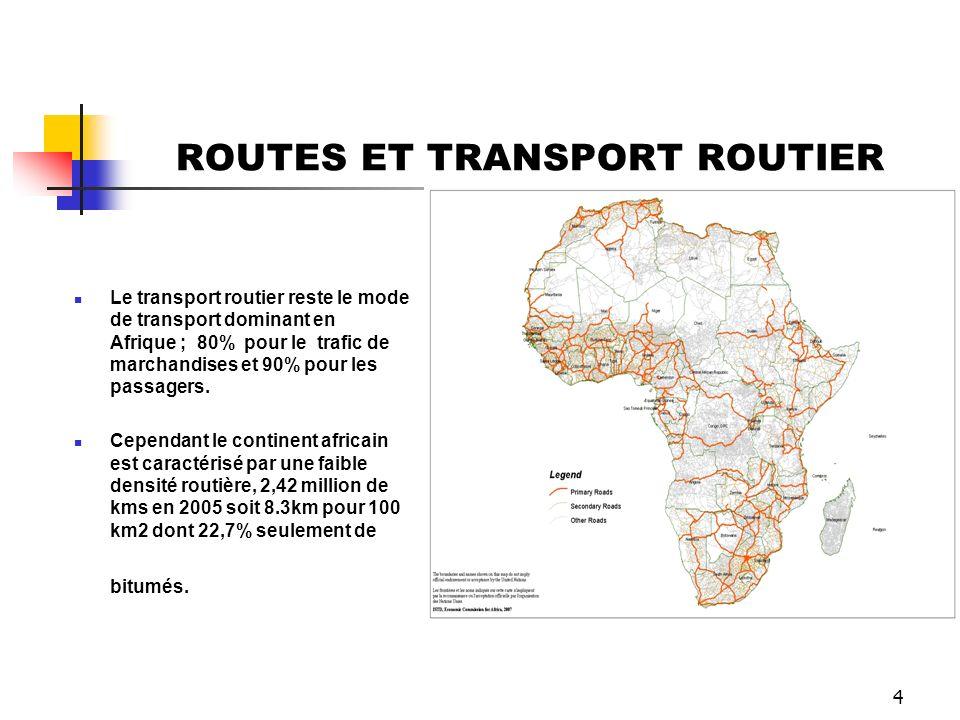 4 ROUTES ET TRANSPORT ROUTIER Le transport routier reste le mode de transport dominant en Afrique ; 80% pour le trafic de marchandises et 90% pour les