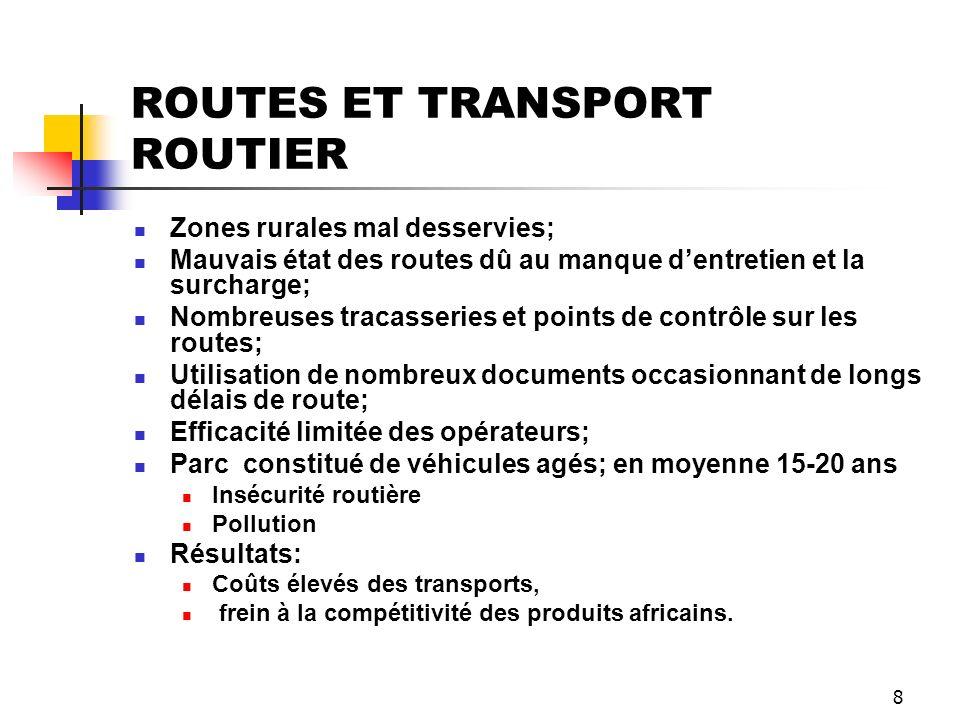 8 ROUTES ET TRANSPORT ROUTIER Zones rurales mal desservies; Mauvais état des routes dû au manque dentretien et la surcharge; Nombreuses tracasseries e