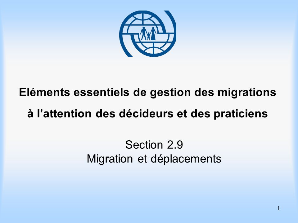 2 Eléments essentiels de gestion des migrations Section 2.9 Migration et déplacements Objectifs dapprentissage Approfondir votre connaissance des problèmes posés par la migration forcée de personnes déplacées à lintérieur de leur pays.