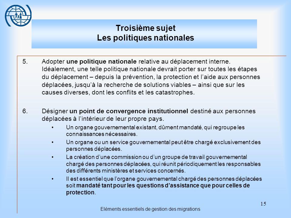 15 Eléments essentiels de gestion des migrations Troisième sujet Les politiques nationales 5.Adopter une politique nationale relative au déplacement i