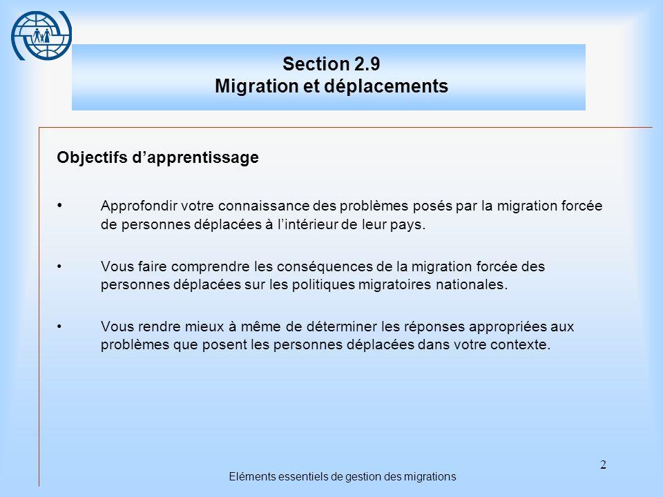 2 Eléments essentiels de gestion des migrations Section 2.9 Migration et déplacements Objectifs dapprentissage Approfondir votre connaissance des prob
