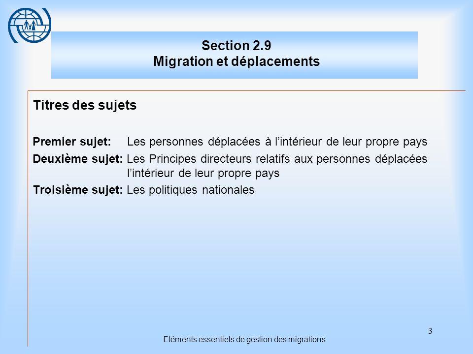 14 Eléments essentiels de gestion des migrations Troisième sujet Les politiques nationales 3.Recueillir des données sur le nombre de personnes déplacées et leurs conditions dexistence.