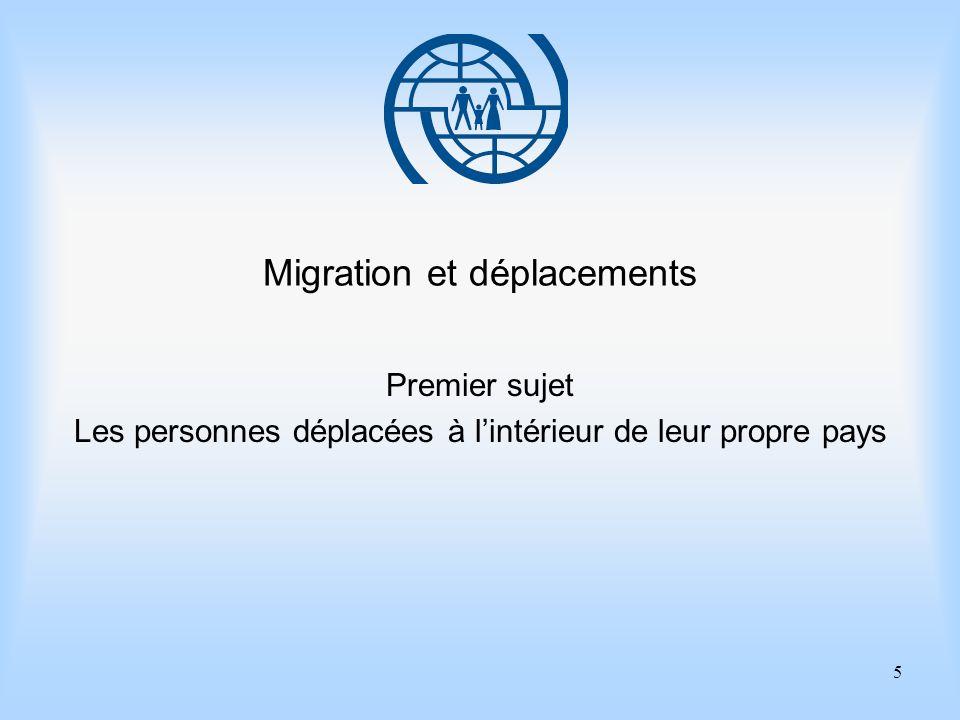 6 Eléments essentiels de gestion des migrations Premier sujet Les personnes déplacées à lintérieur de leur propre pays Points importants 1.La définition des personnes déplacées à lintérieur de leur propre pays nest pas une définition à caractère juridique, elle est tout simplement descriptive.