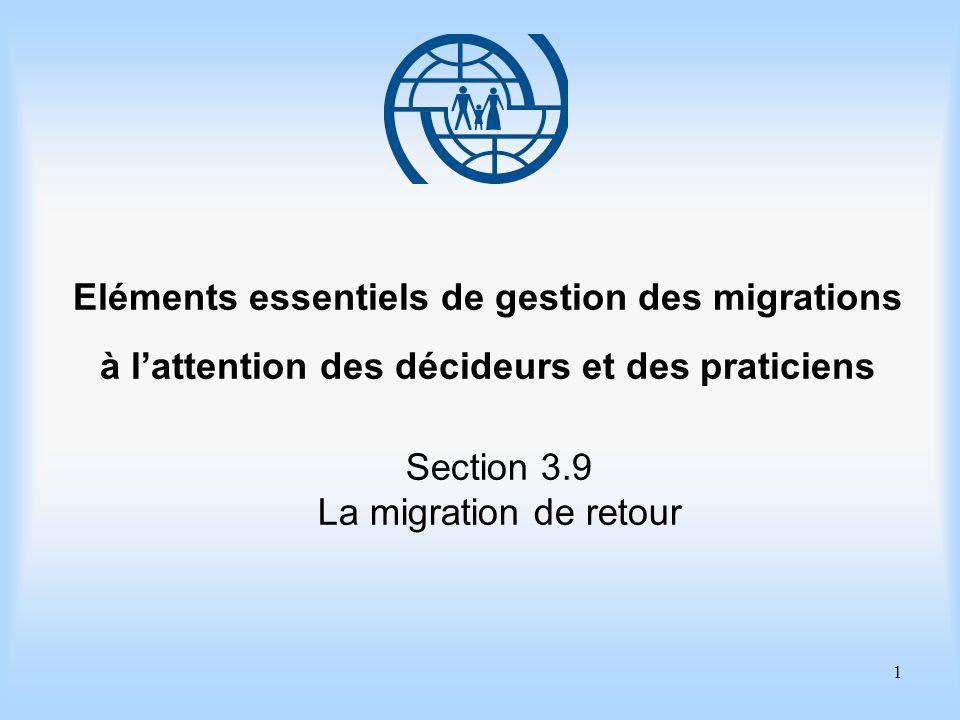 1 Eléments essentiels de gestion des migrations à lattention des décideurs et des praticiens Section 3.9 La migration de retour