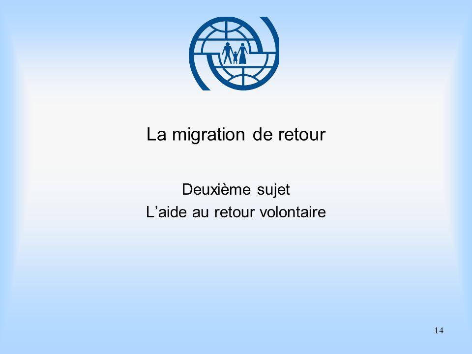 14 La migration de retour Deuxième sujet Laide au retour volontaire