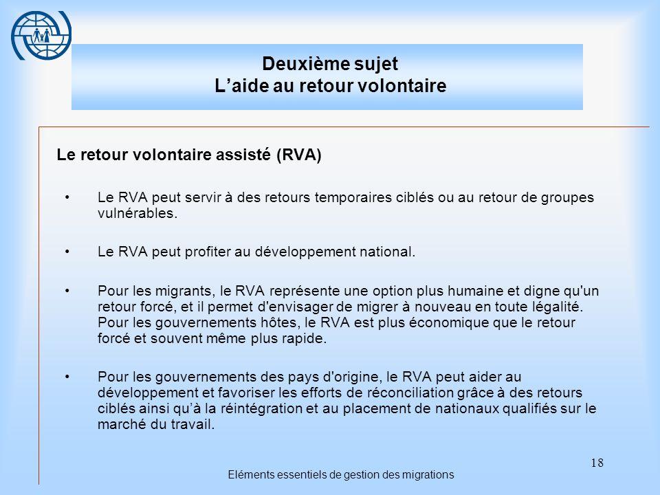 18 Eléments essentiels de gestion des migrations Deuxième sujet Laide au retour volontaire Le retour volontaire assisté (RVA) Le RVA peut servir à des retours temporaires ciblés ou au retour de groupes vulnérables.