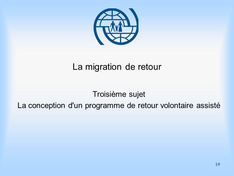 19 La migration de retour Troisième sujet La conception d un programme de retour volontaire assisté