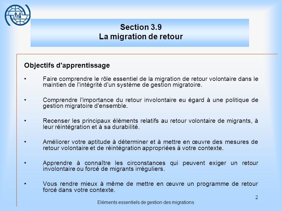 2 Eléments essentiels de gestion des migrations Section 3.9 La migration de retour Objectifs d apprentissage Faire comprendre le rôle essentiel de la migration de retour volontaire dans le maintien de l intégrité d un système de gestion migratoire.