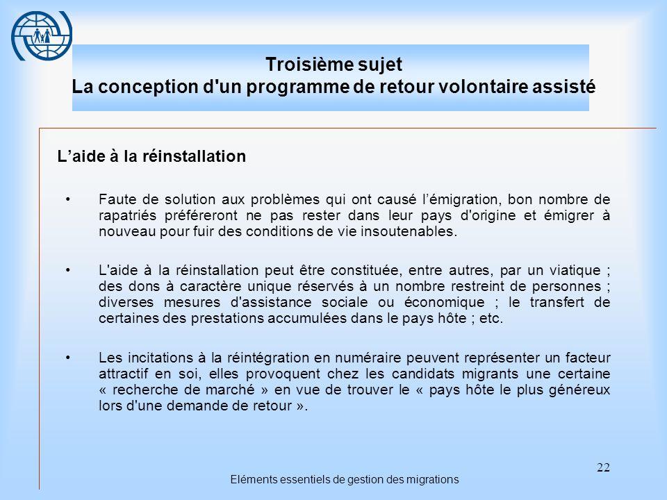 22 Eléments essentiels de gestion des migrations Troisième sujet La conception d'un programme de retour volontaire assisté Laide à la réinstallation F