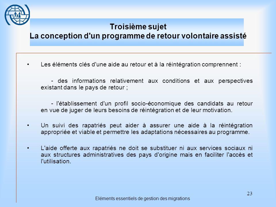 23 Eléments essentiels de gestion des migrations Troisième sujet La conception d'un programme de retour volontaire assisté Les éléments clés d'une aid